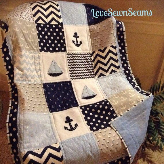 """Nautical Sailing Crib Size quilt in blue, navy, gray 38""""x52""""/Anchors and Sails/Nautical nursery"""