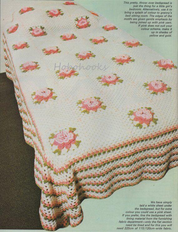 Crochet Bedspread Crochet Pattern Pdf Crochet Roses Bedspread Single