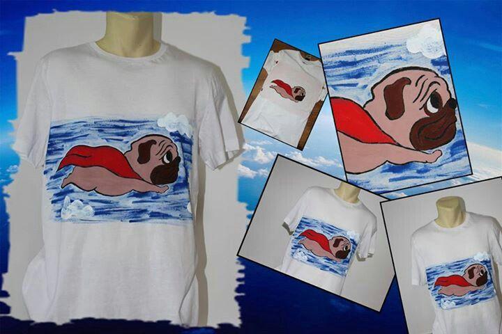 Superpug hand painted t-shirt