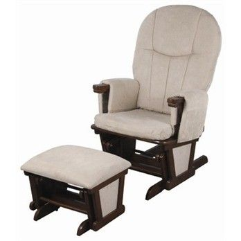 Child care glider rocker ottoman walnut caramel having for Childrens rocking chair with footstool