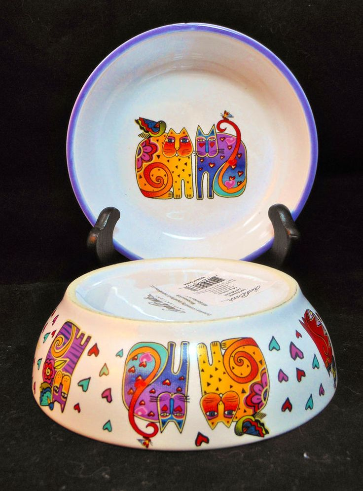 One New Laurel Burch Ceramic Cat Bowl Saucer Dish Cats
