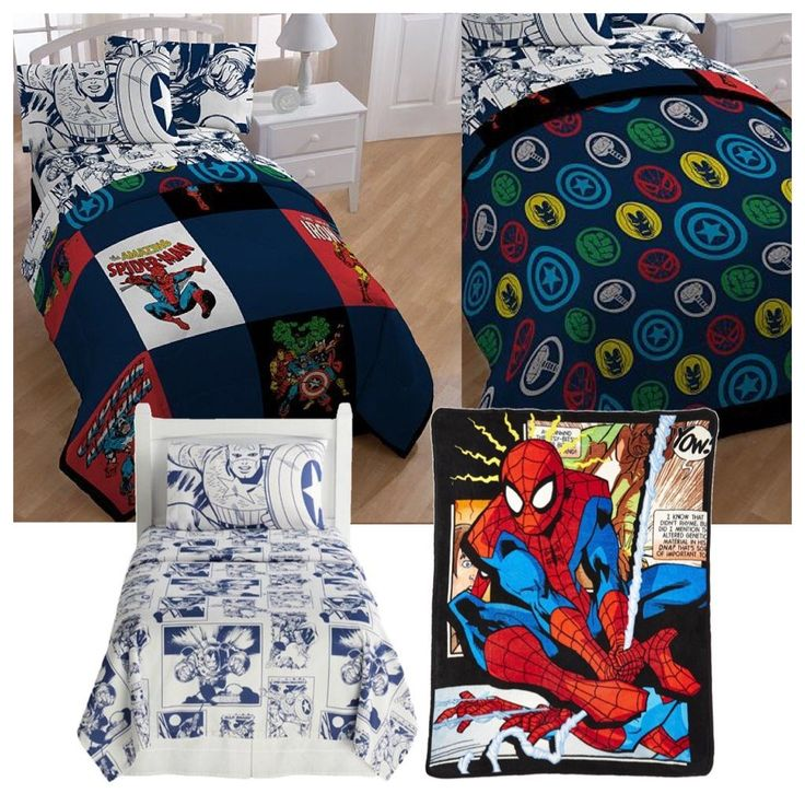 Marvel Comic Heroes 5 Piece Kids Twin Bedding Set - Reversible Comforter, Sheet Set with Reversible Pillowcase and Spiderman Comic Plush Throw Blanket //Price: $164.24 & FREE Shipping //     #hashtag3