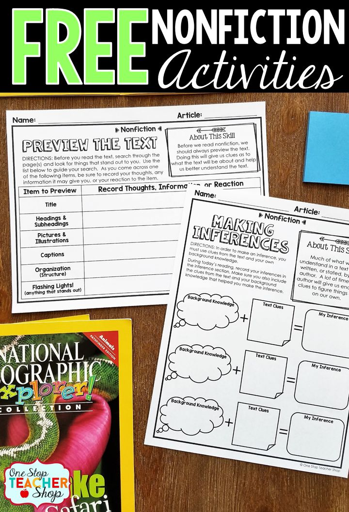 Free Nonfiction activity sheets. These graphic organizers can be paired with any Nonfiction text! No Prep! Reading Comprehension | Previewing Texts | Making Inferences