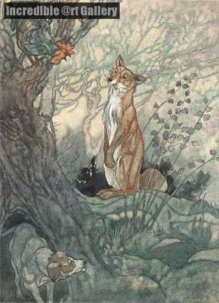 Illustration for Aesop's Fables The fox with the cropped tail by Charles Robinson