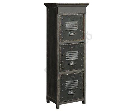 Loft Szafka Wysoka to metalowa, wąska szafka Belldeco z trzema szufladami. Delikatnie postarzana  Więcej na: www.lawendowykredens.pl
