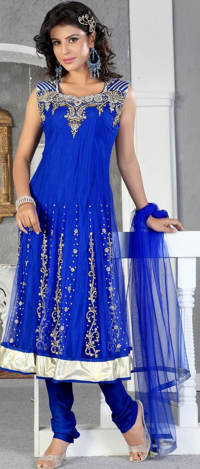 Deep #Blue Net #Anarkali Churidar Kameez with Dupatta @ $192.20