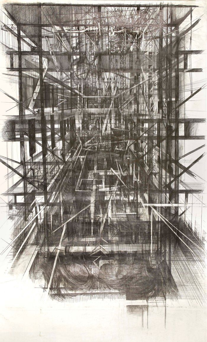 O'Connor's drawings show a layering of graphite as well as narrative; early earth movements are visible underneath the later scaffolding structures