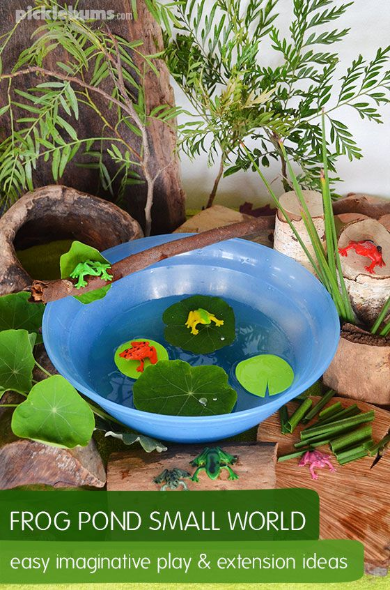 Frog pond small world - an easy imaginative play set up plus bonus extension ideas