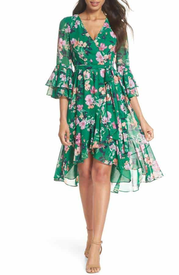 89e84097983e5 The cutest green and pink floral dress with long sleeves. Beautiful spring  wedding guest style! #weddingguestdress #weddingguest oufit. Dress by Eliza  J