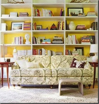 inspiration for my living room. My wall is painted yellow, just waiting on built-in bookshelves (ahem Noah).