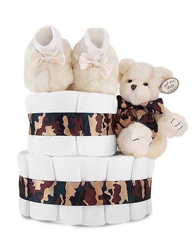Dreamy Camouflage Couture 2-Tier Diaper Cake