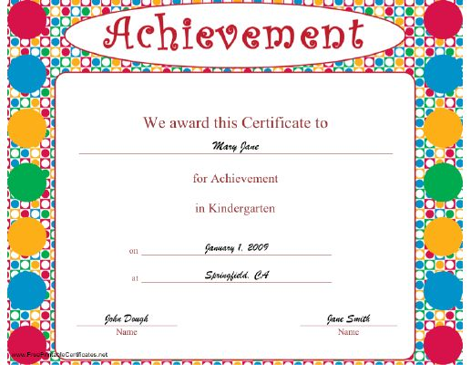 A brightly colored certificate of achievement for a ...