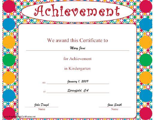achievement award certificate templates