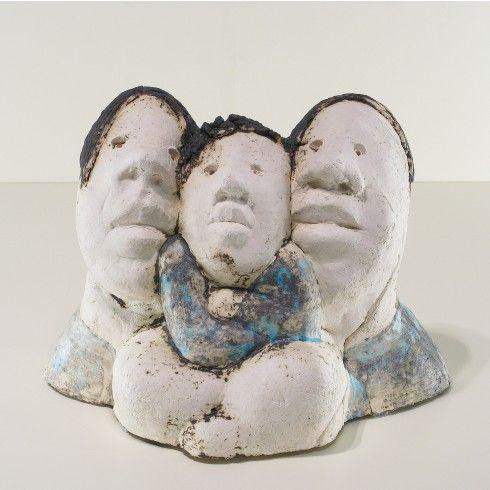 Sjer Jacobs man vrouw en baby keramiek - Kunst
