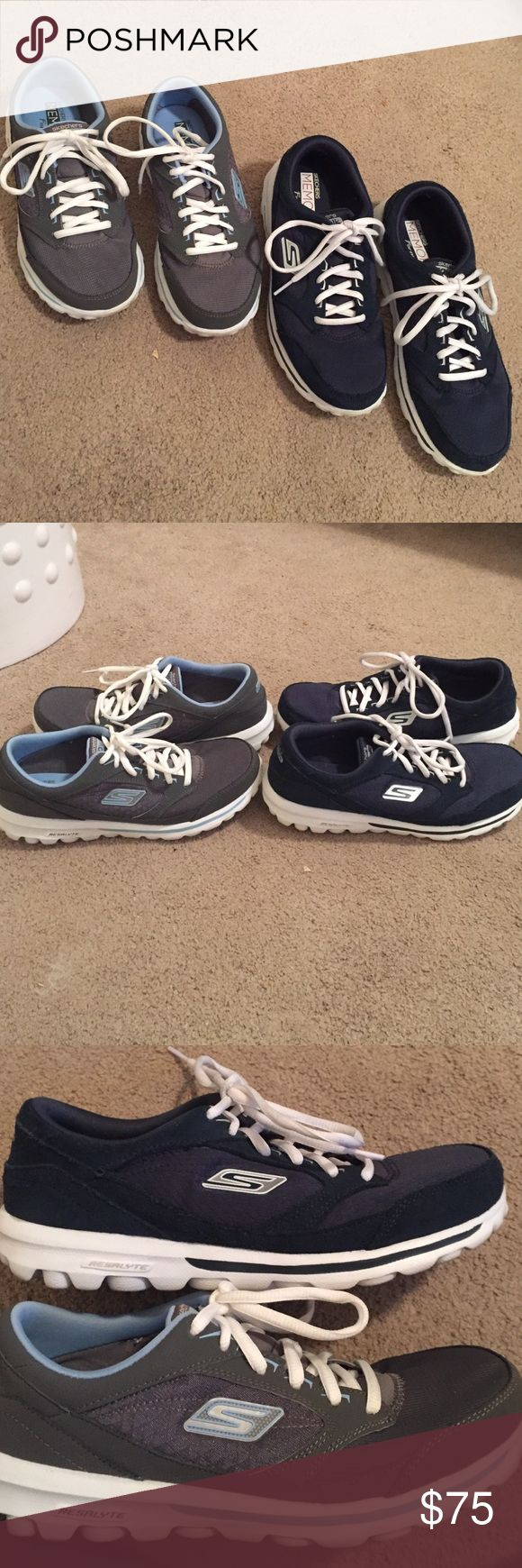 Bundle of Skechers go walk memory form fit shoes Bundle of Skechers go walk memory form fit tennis shoes. Both in excellent condition. Navy blue/white and light blue/white Skechers Shoes Sneakers