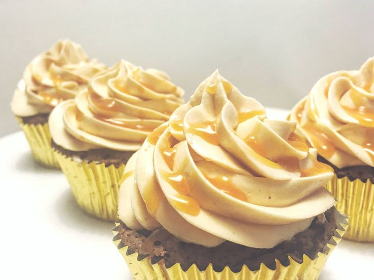 Flourless chocolate cupcakes with salted caramel & peanut butter meringue buttercream