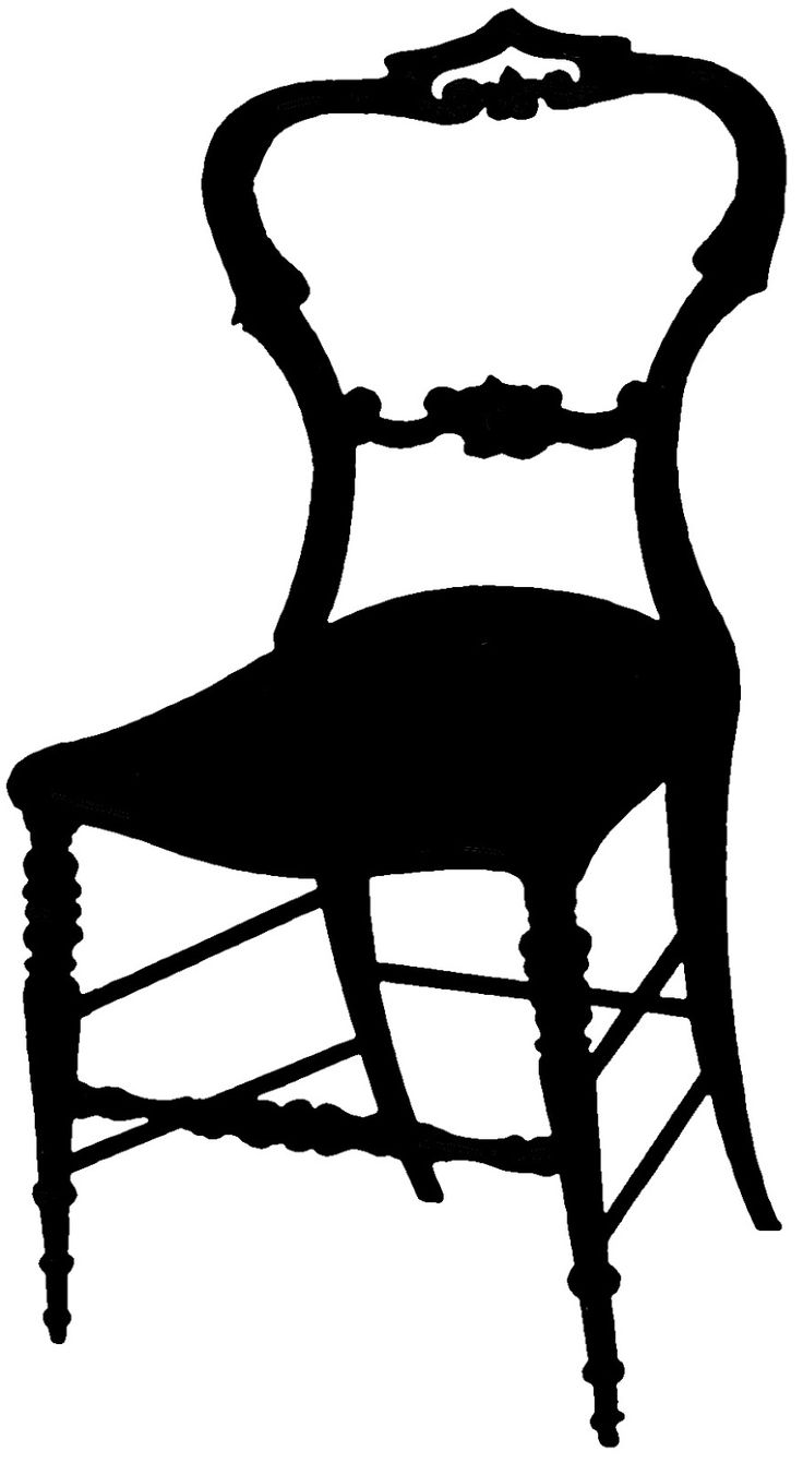 vintage silhouettes | Vintage Graphic Silhouette - Frenchy Chair - The Graphics Fairy