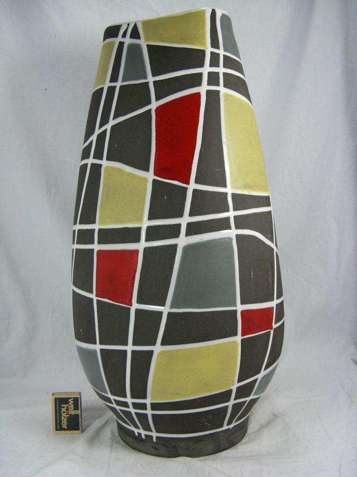 Seltene 50´s Schloßberg Keramik Vase   Kuba   by Liesel Spornhauer 241 / 50 cm