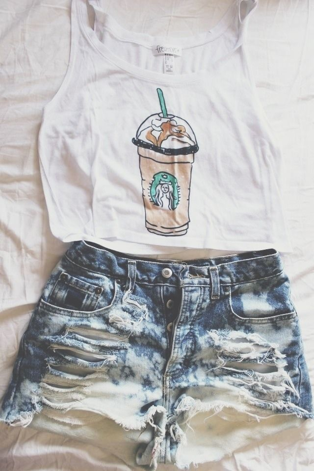 Looking for discount designer fashion? Come visit www.kpopcity.net today!!! Starbucks shirt  ripped short.