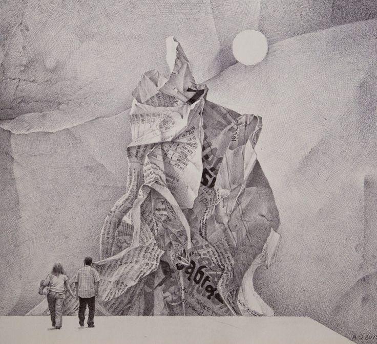 Wieża Babel, rysunek długopisem, A3