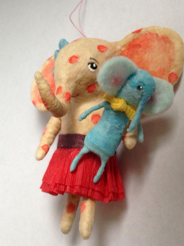 elephant girl spun cotton ornament by Maria Paula