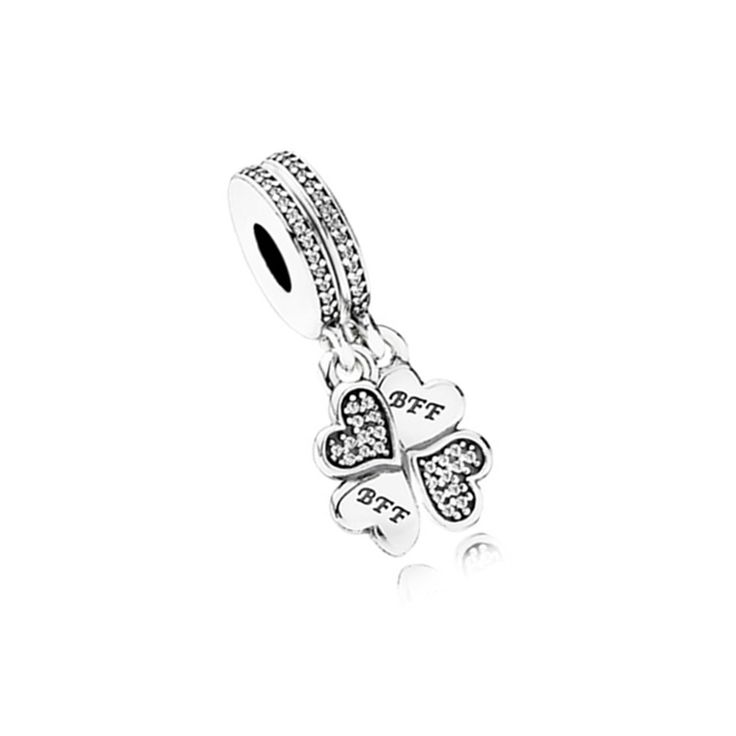 Free Shipping Valentine's Day Gifts BFF Love Heart Clover Beads Charms fit European Pandora Style Charm Bracelets and Necklaces