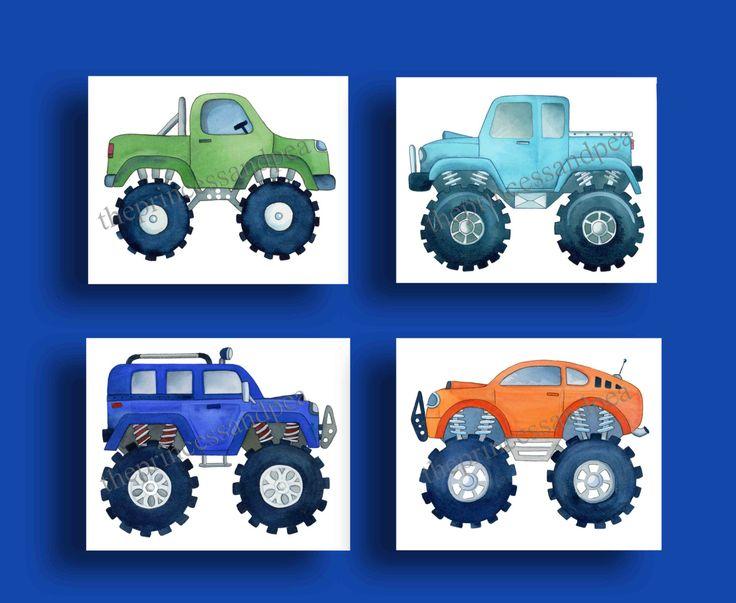 monster truck boys art, boys transportation art prints, childrens artwork, transportation bedroom, monster truk bedding art by theprincessandpea on Etsy https://www.etsy.com/listing/217484586/monster-truck-boys-art-boys