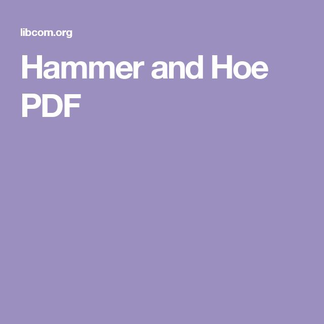 Hammer and Hoe PDF