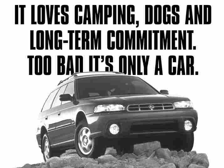 Subaru commercial: it loves camping, dogs, and long-term commitment. Too bad it's only a car.
