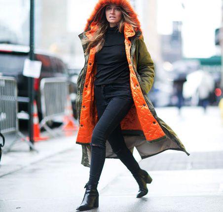 Moda uliczna na NYFW jesień-zima 2016/2017 Street style New York Fashion Week outfit long parka