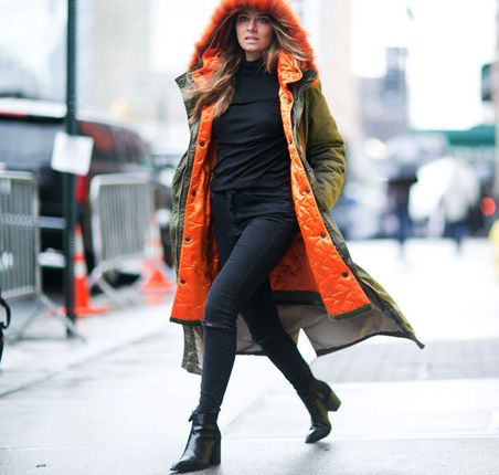 Moda uliczna na NYFW jesień-zima 2016/2017 Street style New York Fashion Week outfit long parka