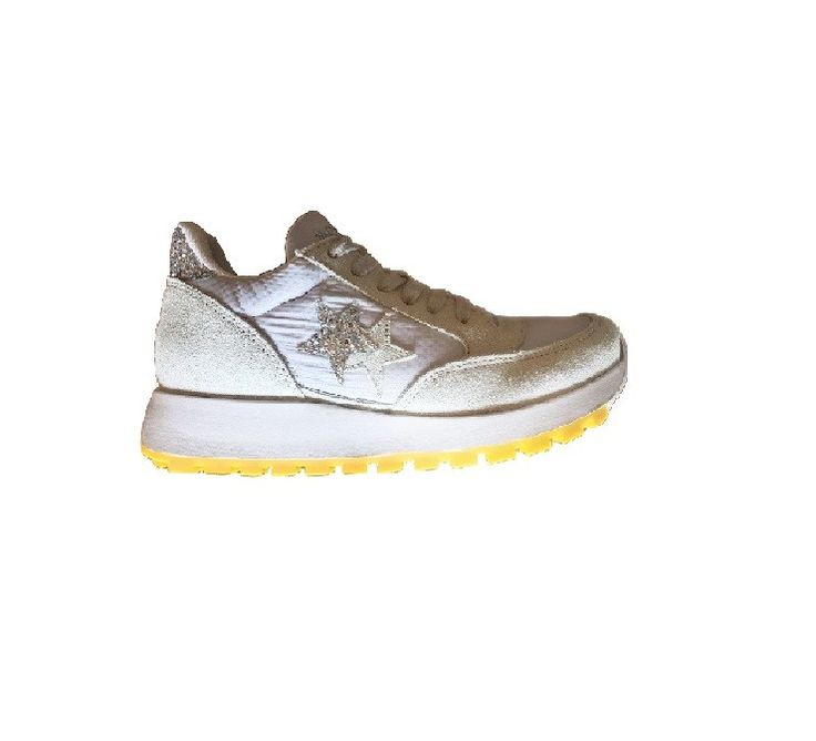Sneaker 2 Two Star Donna 2sd1516 running bianco argento spring summer 2017