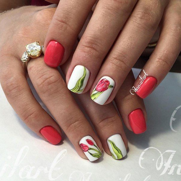 Beautiful nails 2016, Drawings on nails, Festive nails, flower nail art, May nails, Nails ideas with flowers, Nails with tulips, ring finger nails