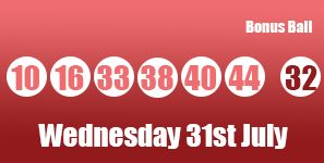 The UK #Lottery #lotto results for Wednesday 31st July which saw the numbers (10), (16), (33), (38), (40), (44) with tonight's Bonus Ball: (32). You can read more about this draw including prize breakdowns via: http://lotterypod.com/lotto-results-31st-july/