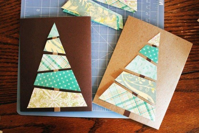 constituer un arbre de noel avec les bandes découpés pour réaliser votre carte de noel