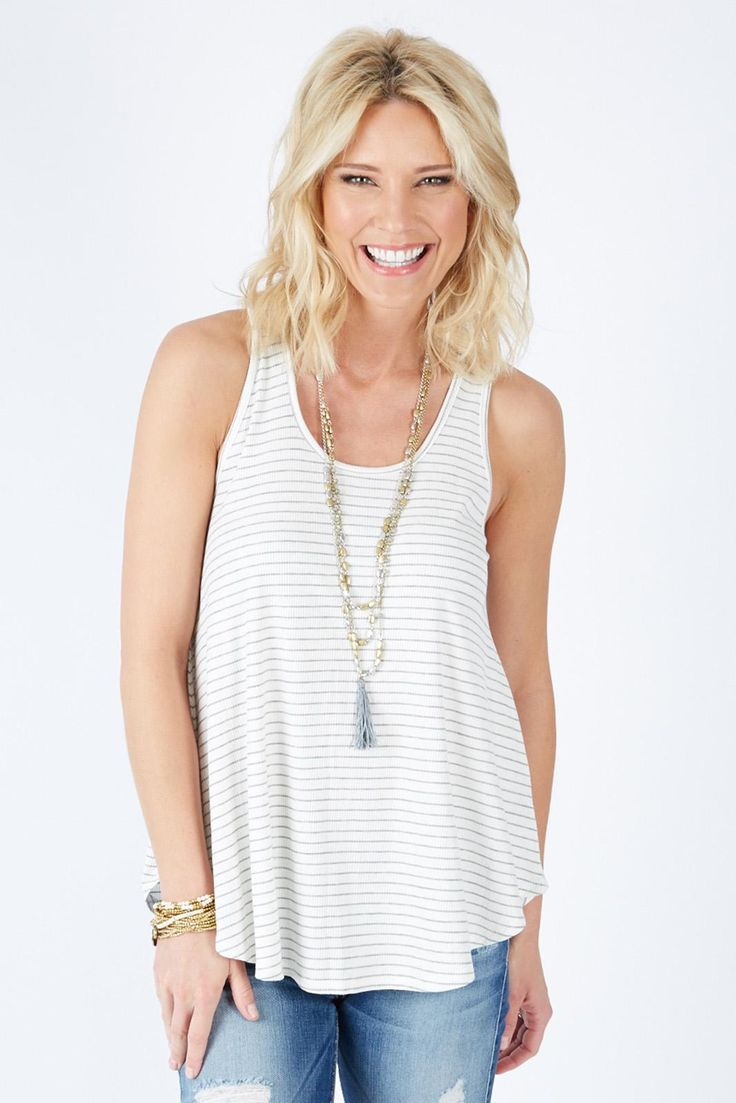 Canyons Stripe Tank $28 | The #1 boutique for moms! $5 Flat Rate Shipping + FREE shipping on all orders over *$50. #Evereve