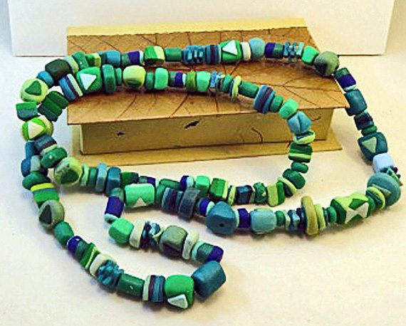 Necklace Greens of many shades beads by QuerkyBitsbyKerry on Etsy