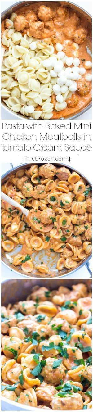 Easy skillet pasta dinner with BEST juiciest mini chicken meatballs in a tomato cream sauce