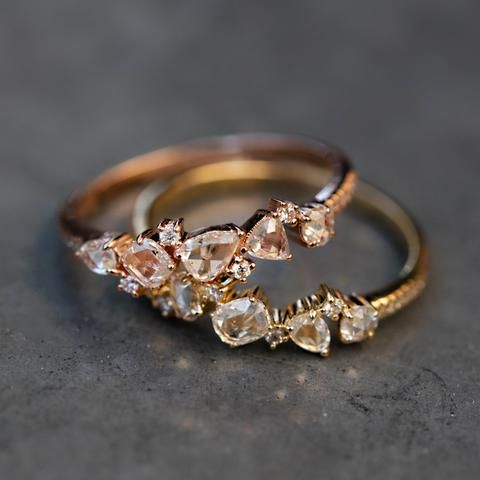 New kt gold and diamond Double Band Moonstone Hex ring u Luna Skye