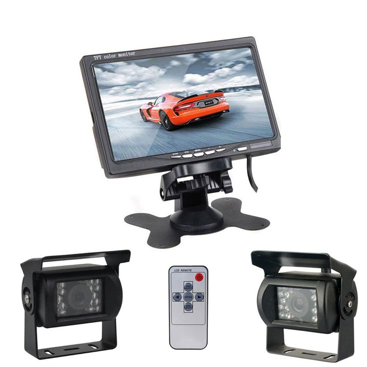 Dual Backup Camera & Monitor Parking Assistance System For Truck RV Bus, 7'' Display, Guide Line, Swivel Adjustable Camera (Colo