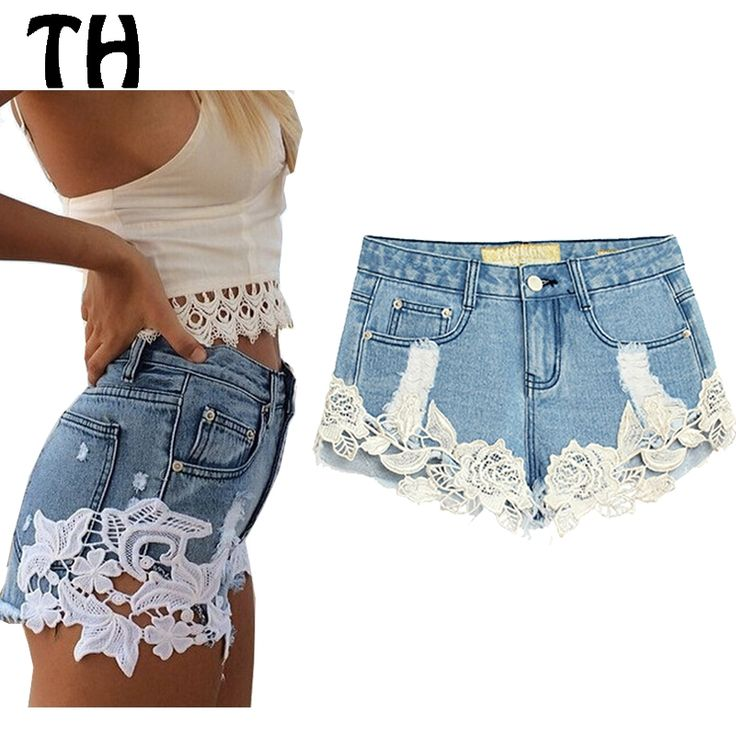 24.17$  Watch here - http://aliok0.shopchina.info/go.php?t=32601976009 - 2016 Lace Denim Shorts Cropped Ripped Jeans Short Femme High Waist Jeans Short De Cintura Clta Bermudas #160233  #buymethat