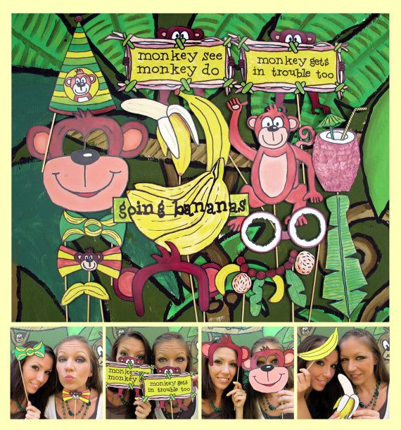 Monkey banana jungle photo booth props  perfect for jungle