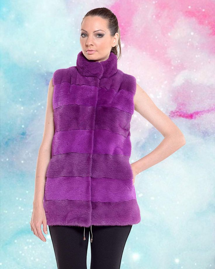 Fur popsicle in a purple dyed mink fur vest.