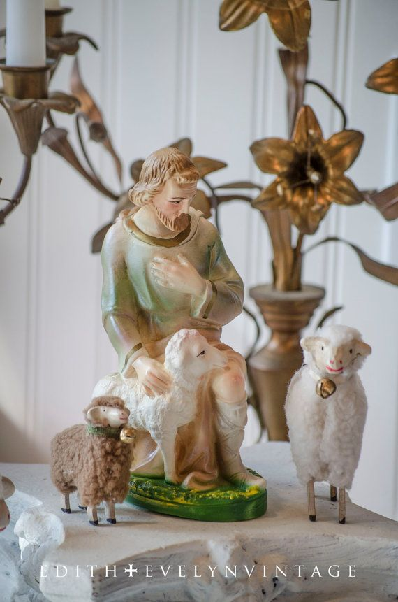 Vintage Nativity Shepherd with Sheep Statue by edithandevelyn