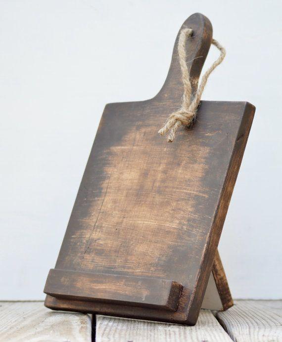 Kitchen ipad stand, cutting board ipad stand for kitchen, wood ipad stand, rustic tablet stand, farmhouse decor, rustic decor