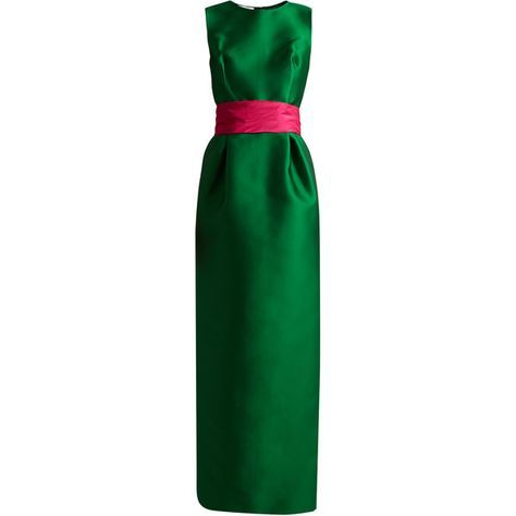 Oscar De La Renta Bi-colour satin column gown (377.370 RUB) found on Polyvore featuring women's fashion, dresses, gowns, green multi, embellished dress, satin evening gown, oscar de la renta ball gown, satin gown and oscar de la renta dresses