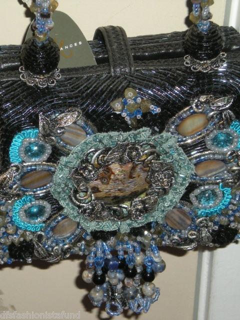 NEW Mary Frances Black & Blue BEADED Purse Bag