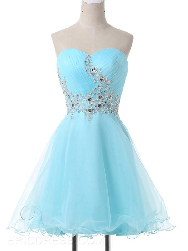 Ericdress Sweetheart Appliques Lace-Up Homecoming Dress  1