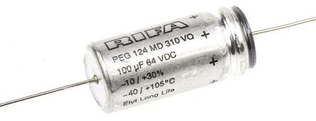 Buy KEMET Aluminium Electrolytic Capacitor 100μF 63V dc 13mm Axial, Can PEG124 Series +125°C