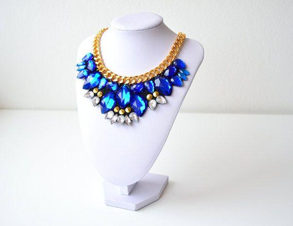 Golden Blue Rhinestone Gem Crystal Statement Necklace by GemsOver